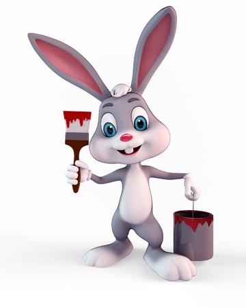 3d art illustration of bunny with paint box illustration