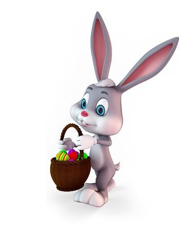 3d art illustration of bunny with egg basket illustration