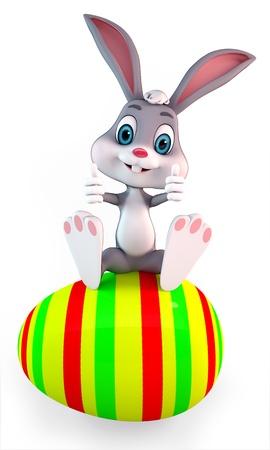3d art illustration of bunny sitting on a big egg illustration