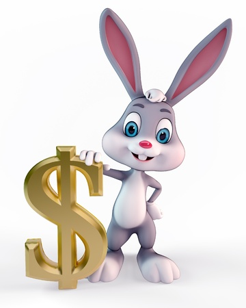 3d art illustration of bunny with dollar sign