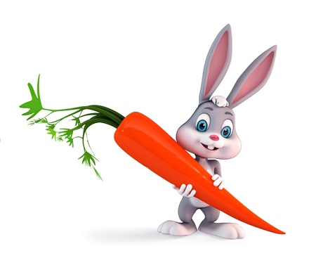 3d art illustration of bunny with carrot Stock Illustration - 14957939