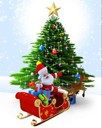 3d art illustration of santa with reindeer sleigh near tree illustration