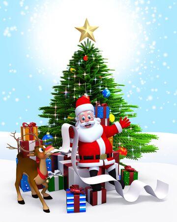 3d art illustration of santa with a long list
