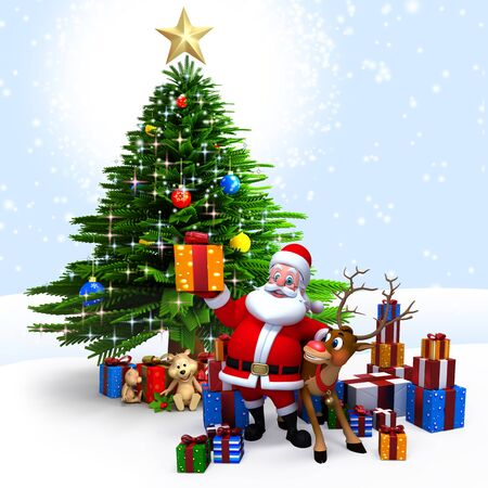 3d art illustration of santa with lots of gifts illustration