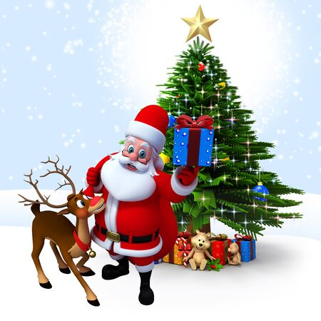 3d art illustration of santa with gifts and reindeer