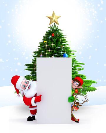 3d art illustration of santa with elves and white sign illustration