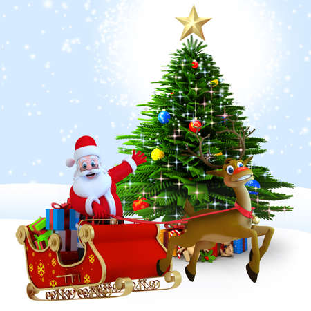 3d art illustration of santa with reindeer sleigh illustration