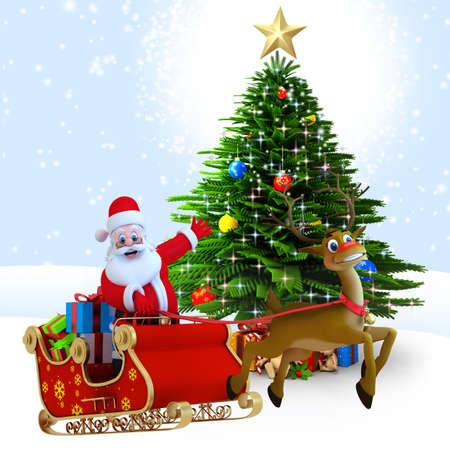 3d art illustration of santa with reindeer sleigh illustration