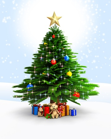 3d art illustration of christmas tree in blue illustration