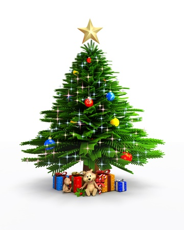 3d art illustration of christmas tree
