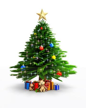christmas graphic: 3d art illustration of christmas tree