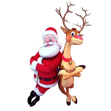 3d art illustration of santa smiling with reindeer