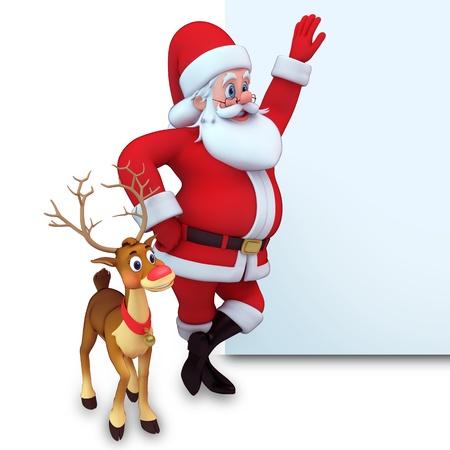 3d art illustration of santa with reindeer holding white sign illustration