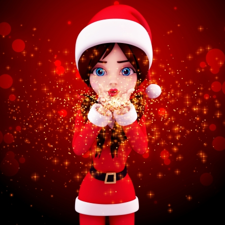 santa girl with magical dust isolated with red background photo