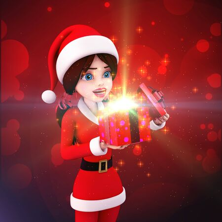 santa girl with magical gift photo