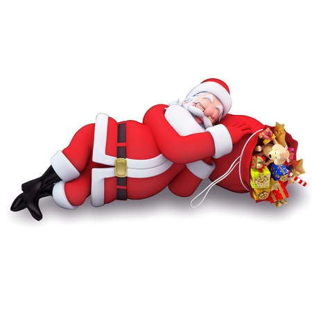 christmastime: santa claus is sleeping with gift bag