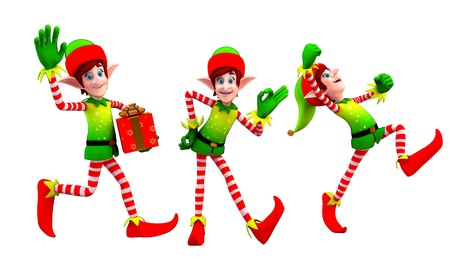 elves dancing with gift Stock Photo