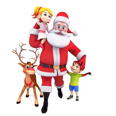 santa and reindeer with kids Stock Photo