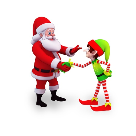 santa shaking hand with elves