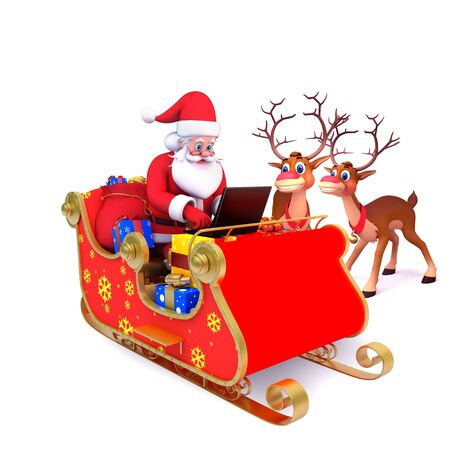 santa is with his sleigh and laptop photo