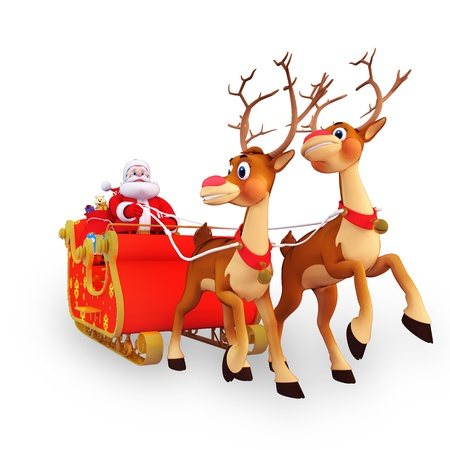 christmastime: illustration of santa claus is with his sleigh and gifts Stock Photo