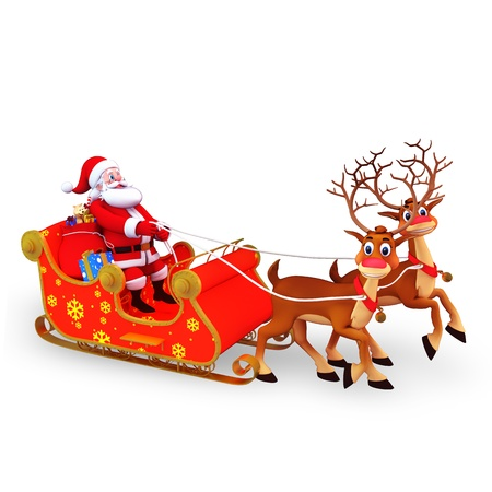 santa claus is with his sleigh and gifts photo