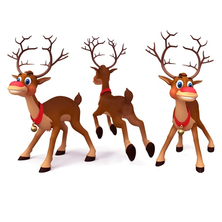 illustration of reindeer is running in white background