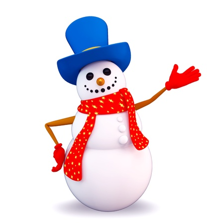 snow man is pointing towards blank photo