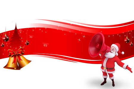 santa with loudspeaker with red background