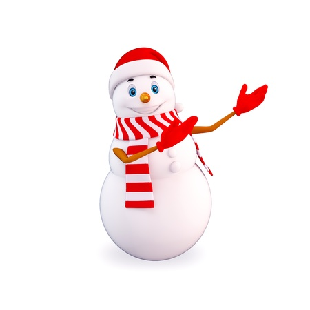 snowman 3d: snow man pointing towards blank Stock Photo