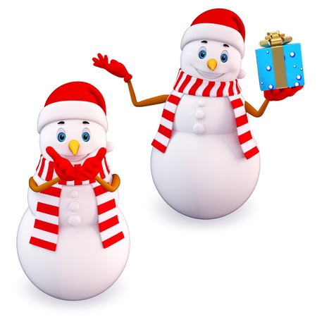 snowman 3d: two snow man with gift