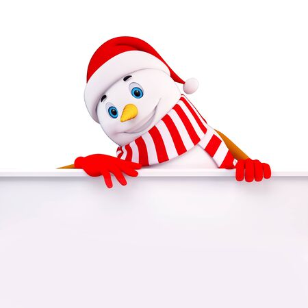 christmas sign: snow man with sign Stock Photo