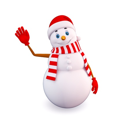 snowman 3d: snow man with bye action