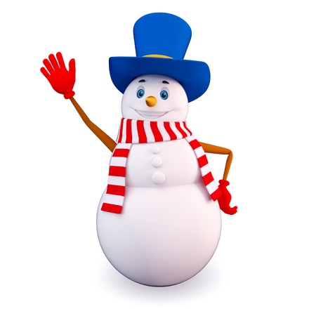 says: snow man says bye