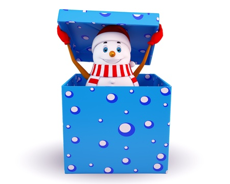 snowman 3d: snow man coming out of the gift box Stock Photo