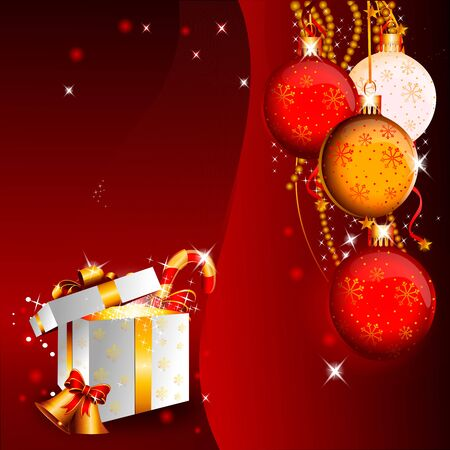 red background with christmas balls and white gift box Stock Photo - 15142872