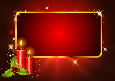 christmastime: red background with candles and cherry Stock Photo