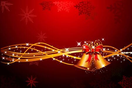 red background with jingle bell and golden rays Stock Photo - 15142851