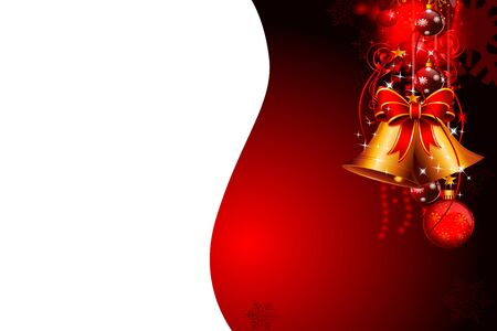red background with christmas balls and jingle bell Stock Photo - 15142767