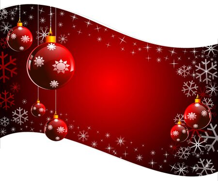 red background with christmas balls Stock Photo - 15142866