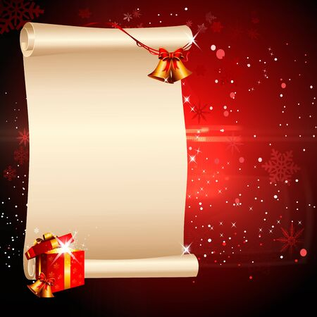 red christmas background with sign and bell, gifts