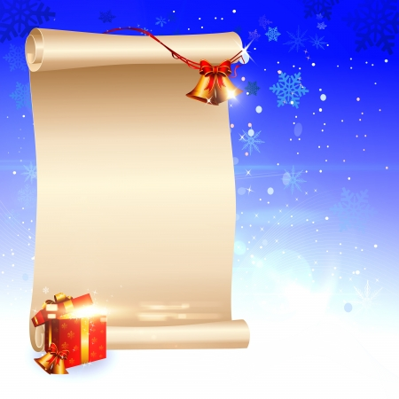 dark blue christmas background with sign and jingle bell Stock Photo