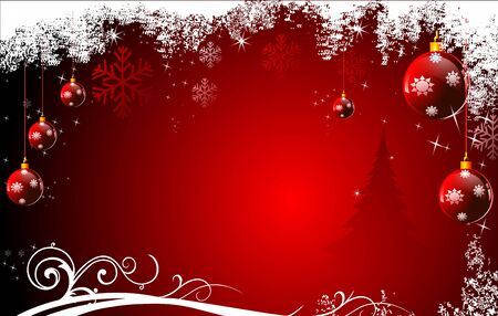 red background with jingle balls Stock Photo