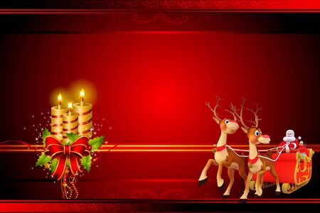santa claus with his sleigh and many gifts photo