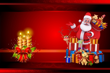 santa claus with many gifts