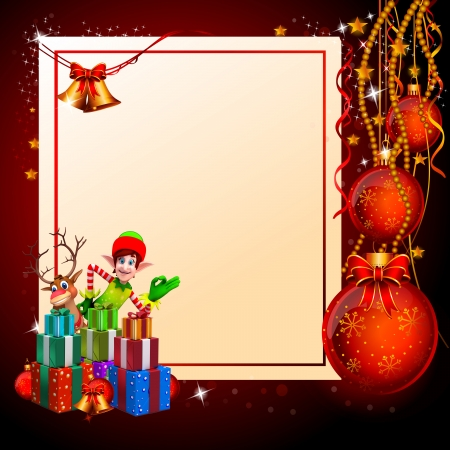 christmas elves with lots of gifts and big sign on red background