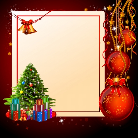 christmas red background with lots of gifts photo
