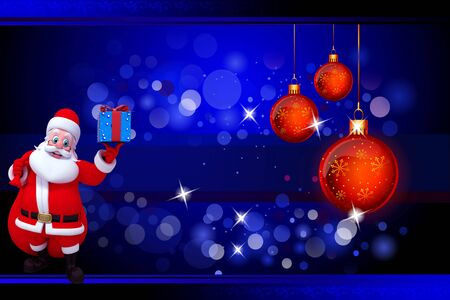 santa with lots of gifts on blue background photo