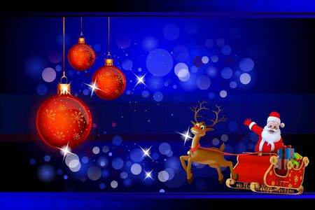 santa and his sleigh with lots of gifts on blue background photo