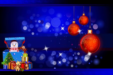 snow man with lots of gifts on blue background